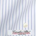 ●メンズパターンオーダーシャツ イタリア製 ALBINI 白場ブルーストライプ 【S71EXM013】