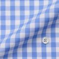 メンズパターンオーダーシャツ 綿100% サックスギンガムチェック 【S71SKF012】