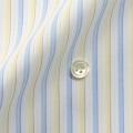 メンズパターンオーダーシャツ 白地ライトブルー×イエロー 純綿 【S71SKF060】