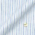 メンズパターンオーダーシャツ 麻 60番単糸/HAMMERLE 白地ライトブルー系ストライプ 【S71SKFS14】