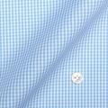 メンズパターンオーダーシャツ 純綿 形態安定 ライトブルーミニギンガムチェック 【S71SKFZ70】