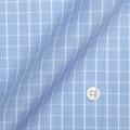 メンズパターンオーダーシャツ 純綿 形態安定 ブルー×ホワイトチェック 【S71SKFZ90】
