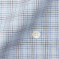 レディースパターンオーダーシャツ(ベーシック) 涼感素材 麻混紡 ブルー・グレーチェック 【S72SKBF68】
