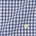 レディースパターンオーダーシャツ(ベーシック) 純綿 白地×ブルー×ネイビーチェック 【S72SKBJ51】