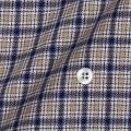 レディースパターンオーダーシャツ(ベーシック) 起毛フランネル 純綿 ベージュ×ブルー 【S72SKF059】