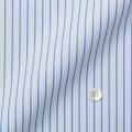 レディースパターンオーダーシャツ(ベーシック) 白地ブルー濃淡×グレーストライプツイル ネル加工 【S72SKFD97】