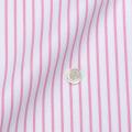レディースパターンオーダーシャツ(ベーシック) 80双純綿 ツイル白地ピンクストライプ 【S72SKFY37】