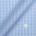 レディースパターンオーダーシャツ(ベーシック) 純綿 形態安定 ブルー×ホワイトチェック 【S72SKFZ90】