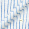 レディースパターンオーダーシャツ(デザイン) 麻 60番単糸/HAMMERLE 白地ライトブルー系ストライプ 【S73SKFS14】