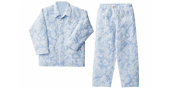 パジャマ デザインキルト  男女兼用(えり付 ツーピース)