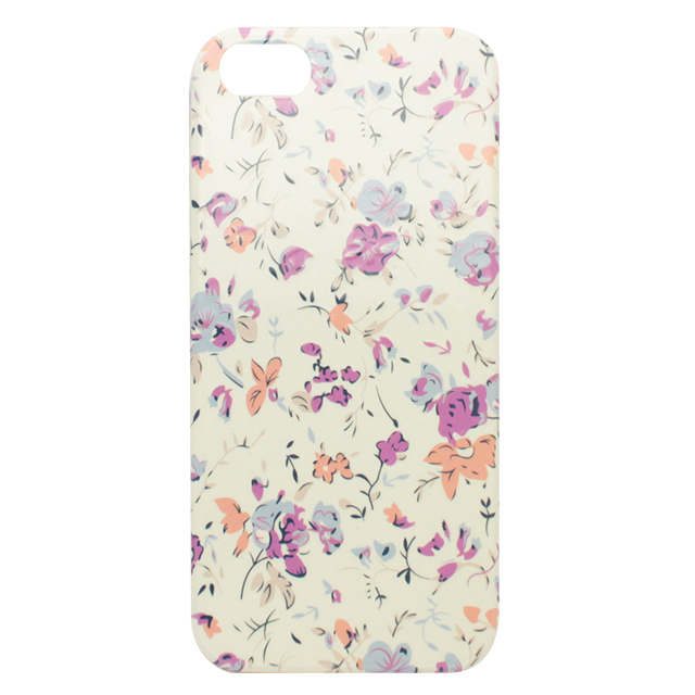 iPhone5/5s/5c シリコンケース / パープルオレンジ 小花柄