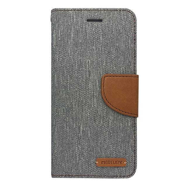iPhone6/6s / 手帳型ケース /PUレザー&キャンバス生地 グレー