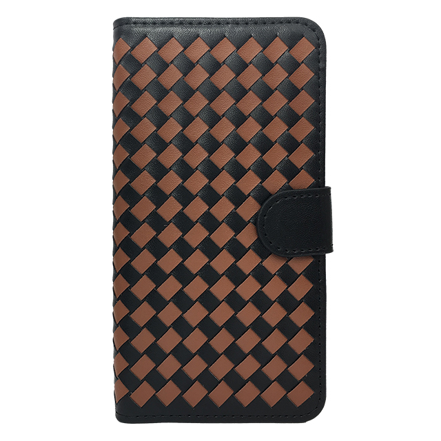iPhone6 plus 合皮編み込みブックレットケース/ キャメル×ブラック