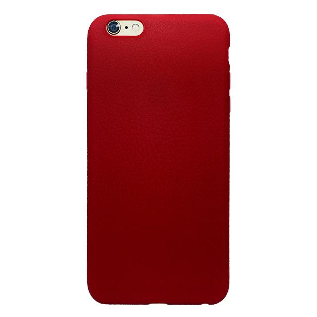 iPhone6 plus/6s plus 合皮柄シリコンケース/ レッド