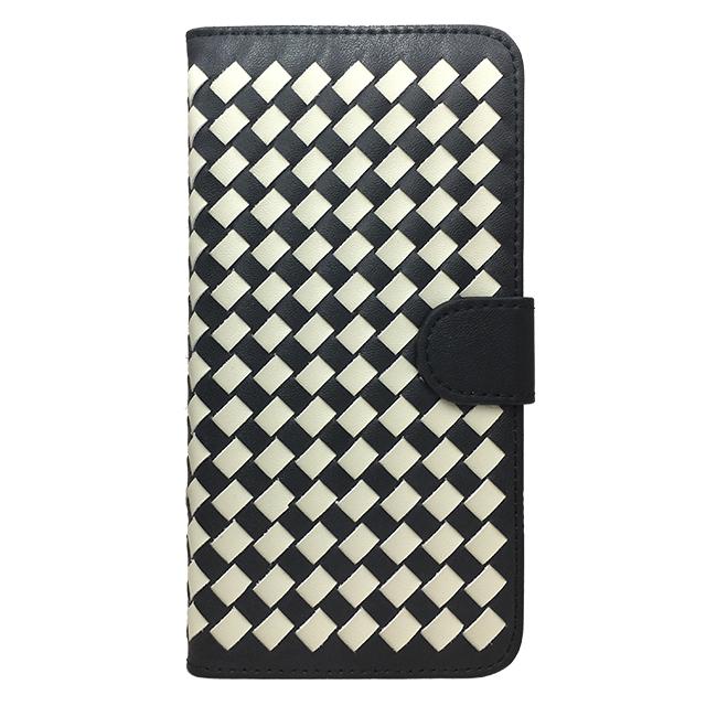 Phone6 plus 合皮編み込みブックレットケース/ ブラック×ホワイト