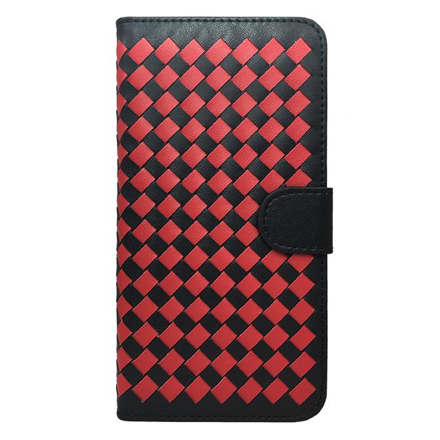 Phone6 plus 合皮編み込みブックレットケース/ レッド×ブラック