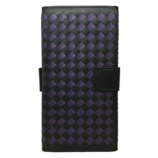 iPhone6 plus 合皮編み込みブックレットケース/ ブラック×パープル
