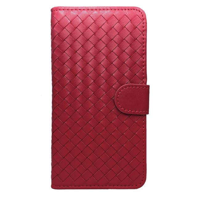 iPhone6 plus 合皮編み込みブックレットケース/ レッド