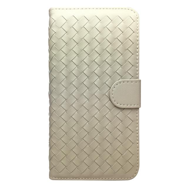 iPhone6 合皮編み込みブックレットケース/ ホワイト
