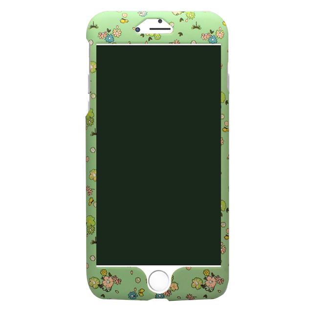iPhone6/6s グリーン&ピンク小花柄両面ケース