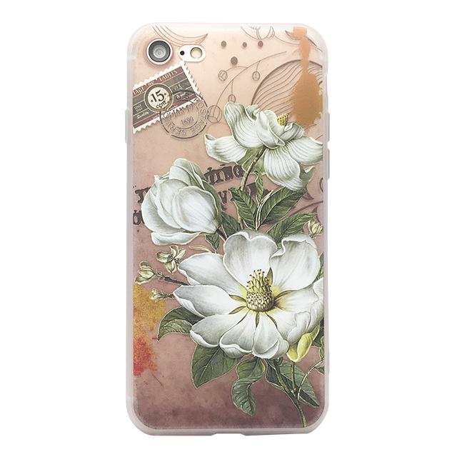iPhone7 シリコンケース/ 花 ・切手