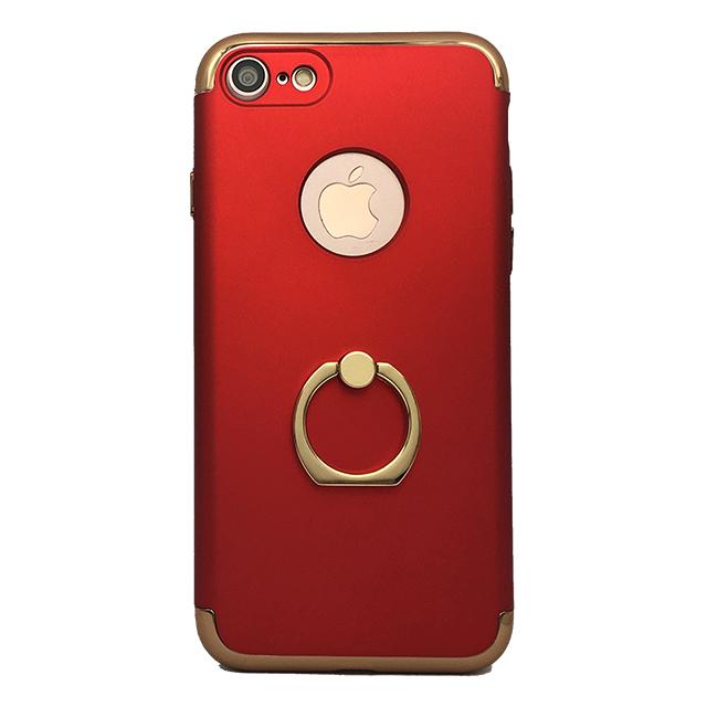 iPhone7 / リング付きメタルケース / レッド