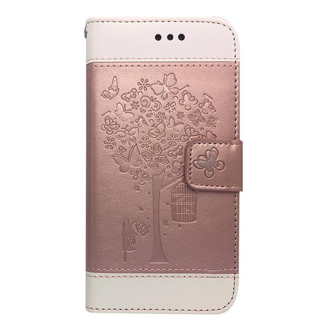 iPhone7 / 手帳型ケース /木・蝶エンボス加工 ライトピンク