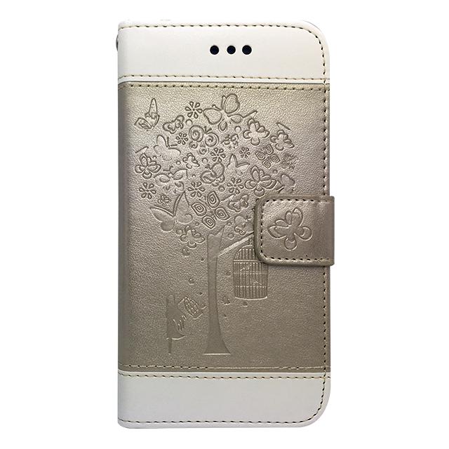 iPhone7 / 手帳型ケース /木・蝶エンボス加工 ゴールド
