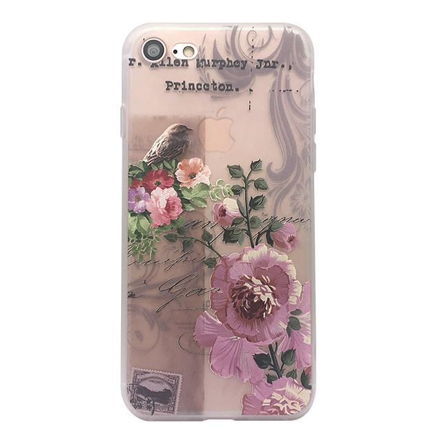 iPhone7 シリコンケース/ 鳥 ・花 ・ 切手