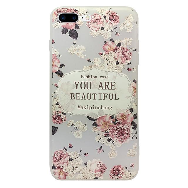 iPhone7 plus シリコンケース/ バラ ・ 英字