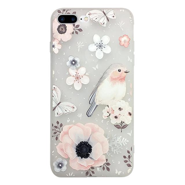 iPhone7 plus シリコンケース/ 花 ・ 蝶 ・ 鳥