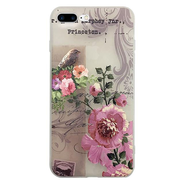 iPhone7 plus シリコンケース/ 花 ・ 鳥 ・ 切手