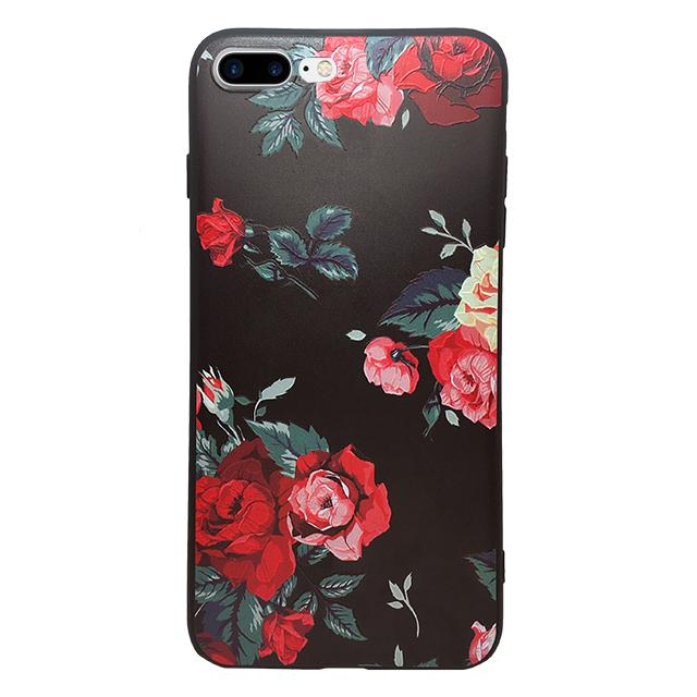 iPhone7 plus シリコンケース/ バラ赤