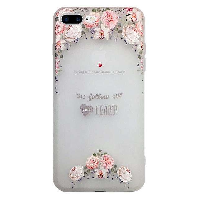 iPhone7 plus シリコンケース/ バラ ・ ハート