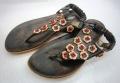 ベトナム製 ペタンコ花サンダル 黒(23cm)
