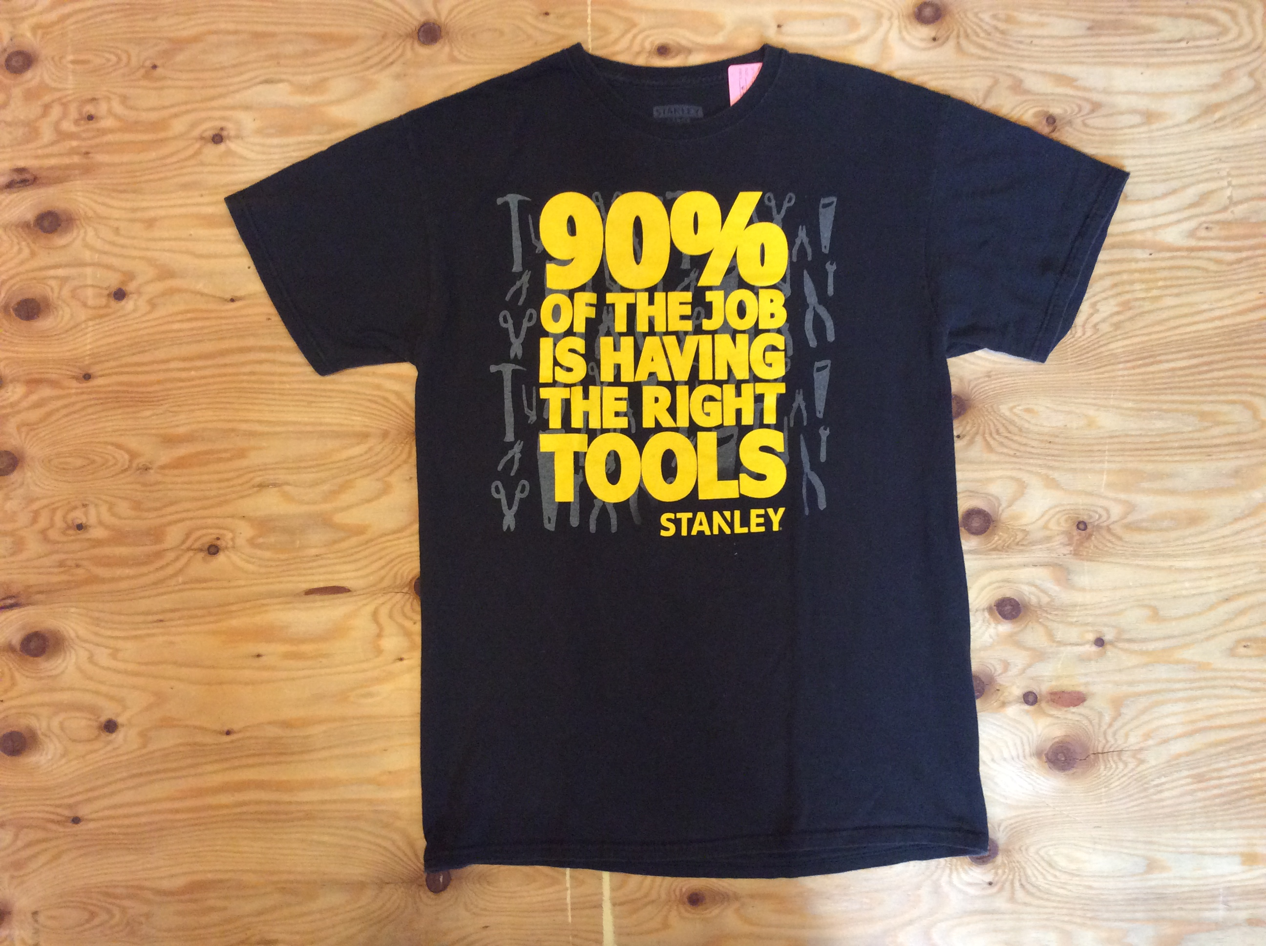 """STANLEY """"90% OF THE JOB IS HAVING THE RIGHT TOOLS """" T-SHIRT / L /USED"""