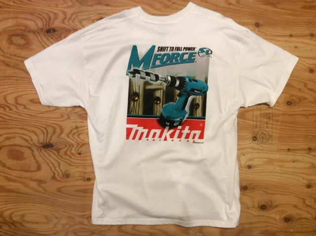 """MAKITA VINTAGE T """"SHIRT SHIFT TO FULL POWER"""" USED, SIZE XL,"""