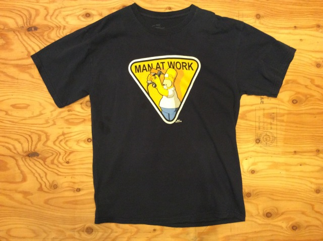 """THE SIMPSONS """"MAN AT WORK"""" T SHIRT /USED/SIZE L/001"""