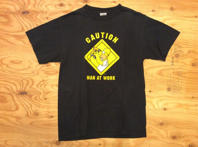 """THE SIMPSONS """"CAUTION MAN AT WORK T"""" SHIRT /USED/SIZE M"""