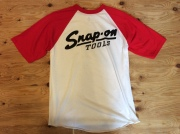 SNAP ON TOOLS BASEBALL T-SHIRT RED AND WHITE / XL / USED