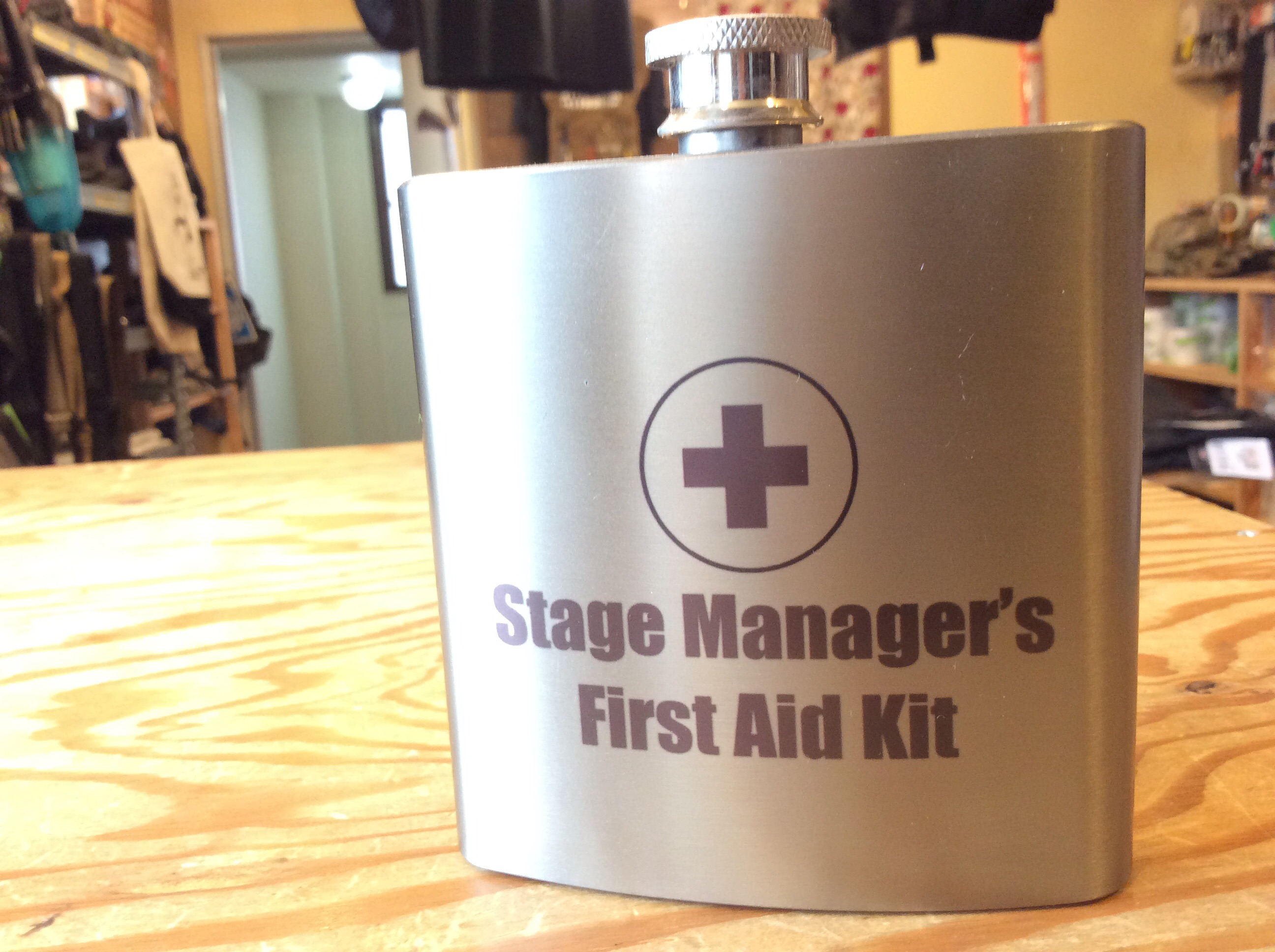 """STAGE MANAGER'S FIRST AID KIT"" STAINLESS STEEL FLASK 6oz"