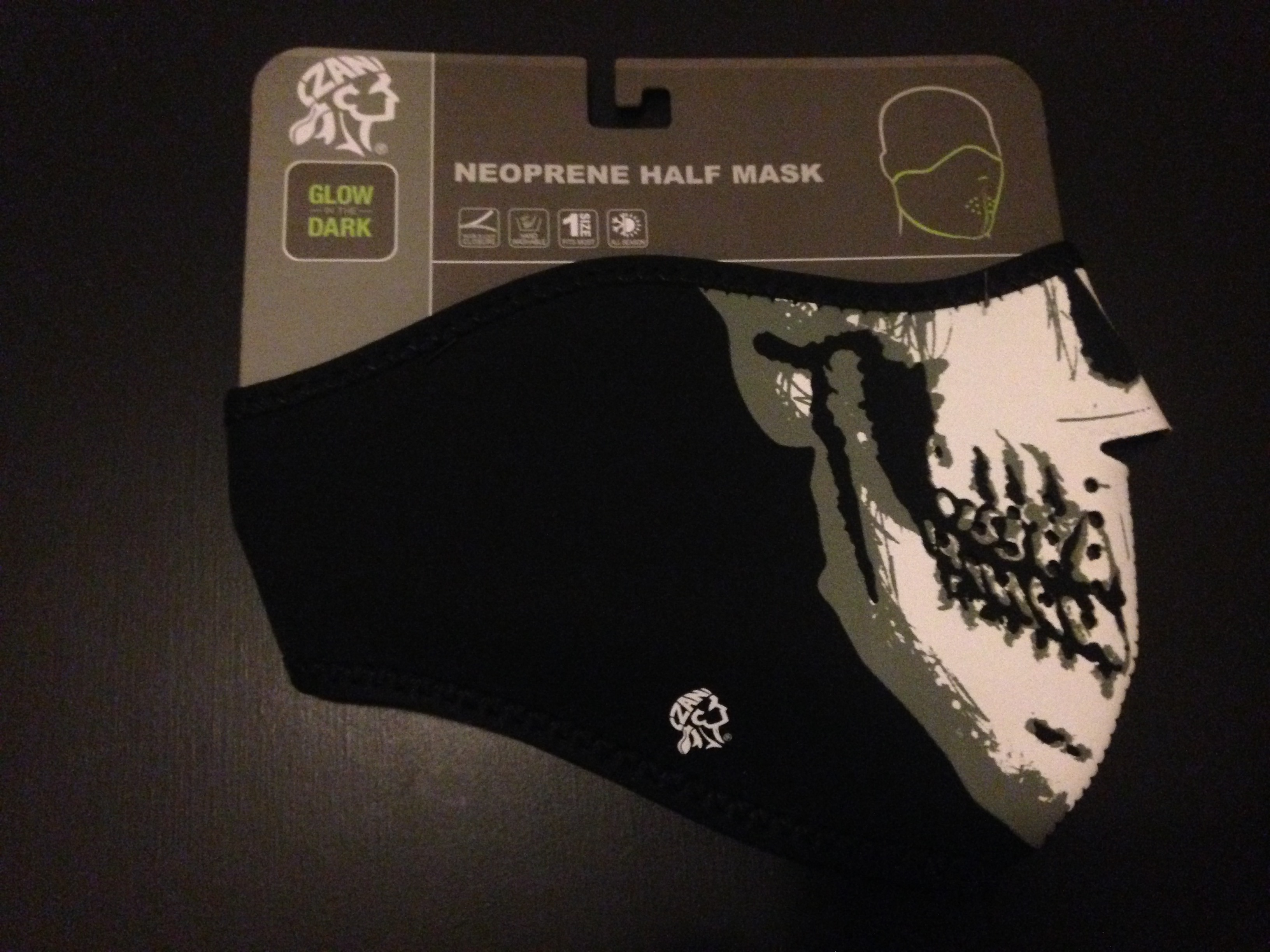 ZAN HEADWEAR NEOPLENE HALF MASK SKULL FACE