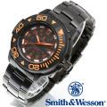 [正規品] スミス&ウェッソン Smith & Wesson スイス トリチウム ミリタリー腕時計 SWISS TRITIUM DIVER WATCH BLACK/ORANGE SWW-900-OR