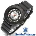 [正規品] スミス&ウェッソン Smith & Wesson スイス トリチウム ミリタリー腕時計 SWISS TRITIUM M&P WATCH BLACK/SILVER SWW-MP18-GRY
