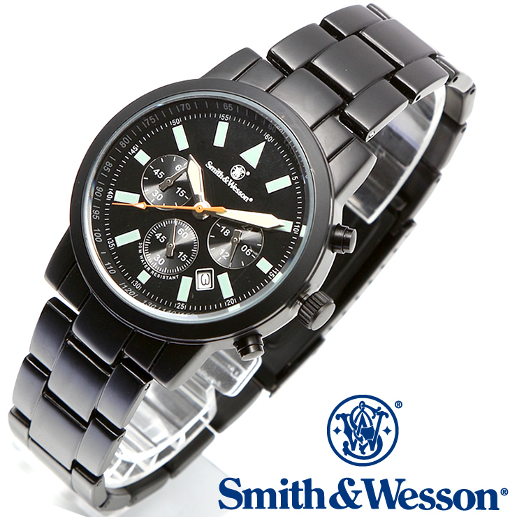[正規品] スミス&ウェッソン Smith & Wesson クロノグラフ ミリタリー腕時計 PILOT WATCH CHRONOGRAPH BLACK SWW-169