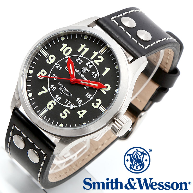 [正規品] スミス&ウェッソン Smith & Wesson ミリタリー腕時計 MUMBAI LAMPLIGHTER WATCH BLACK/SILVER SWW-GRH-1