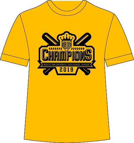 栃木ゴールデンブレーブス ROUTE-INN BCリーグ優勝記念 Tシャツ(黄色)