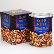 QBB ミックスナッツファミリー缶 あられ入り 620g×6個