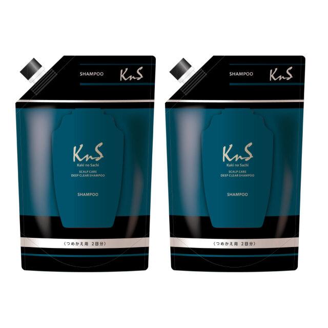 【 K n S 】柿のさち 薬用柿渋スカルプケアディープクリアシャンプー詰替えパウチ800mL 2個セット