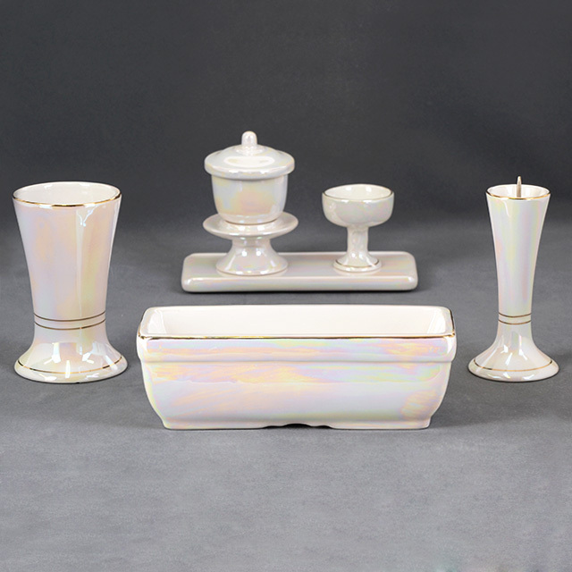 陶器仏具 すばる パールホワイト 6点セット